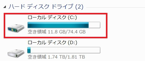 Cドライブ容量